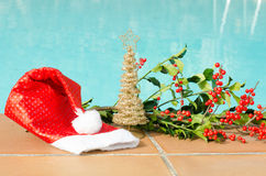 Christmas decorations in the pool. A different Christmas, we change the snow and cold Royalty Free Stock Images