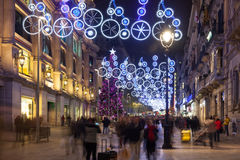 Christmas decorations on Portal del Angel. Barcelona Stock Image