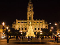 Christmas Decorations in Porto Plaza, Portugal Royalty Free Stock Photos