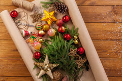 Christmas decorations, prepare for winter holidays background Royalty Free Stock Images