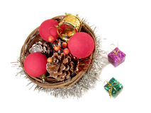 Christmas decorations in a punnet Royalty Free Stock Photography