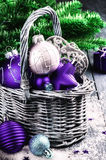 Christmas decorations in purple tone Royalty Free Stock Image