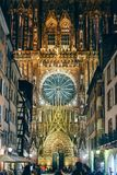 Christmas Decorations are ready in Strasbourg with Notre-Dame ca. STRASBOURG, FRANCE - OCT 31, 2017: Christmas Decorations are ready in Strasbourg for the annual Royalty Free Stock Image
