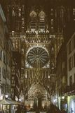 Christmas Decorations are ready in Strasbourg with Notre-Dame ca. STRASBOURG, FRANCE - OCT 31, 2017: Cintage effect over Christmas Decorations are ready in Royalty Free Stock Photography