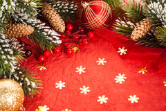 Christmas decorations on red Stock Images