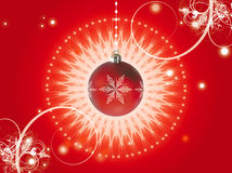 Christmas decorations red. Celebration of christmas with decorations on a red background Stock Photo