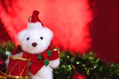 Christmas decorations with red abstract and blur background Royalty Free Stock Photos