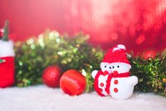 Christmas decorations with red abstract and blur background Royalty Free Stock Photography