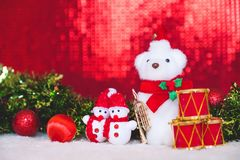 Christmas decorations with red abstract and blur background Royalty Free Stock Images