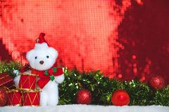 Christmas decorations with red abstract and blur background Stock Images