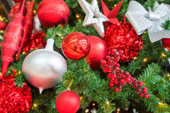 Christmas decorations on red background Royalty Free Stock Photo