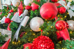 Christmas decorations on red background Stock Image