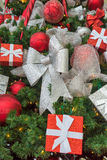 Christmas decorations on red background.  stock image