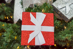 Christmas decorations on red background.  royalty free stock image