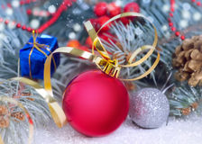 Christmas decorations. Red bauble closeup. Stock Photo
