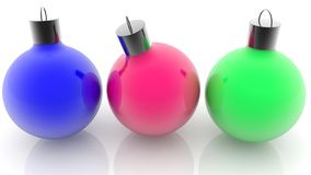 Christmas decorations in red,blue and green colors on white. 3d illustration vector illustration
