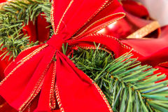 Christmas decorations, red bow on a branch Royalty Free Stock Images