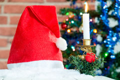 Christmas decorations with a red cap Stock Images