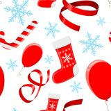 Christmas decorations. Red 3d elements and blue snowflakes. Seamless pattern royalty free illustration
