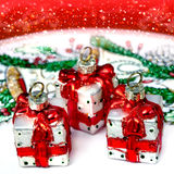 Christmas decorations, red gifts Stock Image