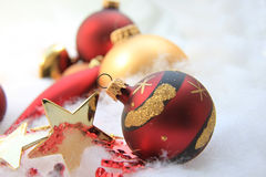 Christmas decorations in red and gold Royalty Free Stock Image