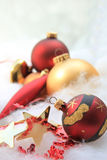 Christmas decorations in red and gold Stock Photos