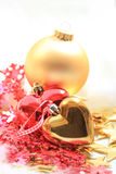 Christmas decorations in red and gold Royalty Free Stock Images