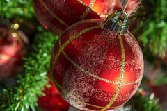 Christmas decorations, red and gold ornaments Royalty Free Stock Photo