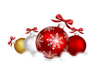 Christmas decorations. Red, gold and silver christmas decorations Royalty Free Stock Photo