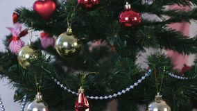 Christmas decorations in red and gold and silver beads on the branches of the Christmas tree. Christmas decorations in red and gold and silver beads on the stock video