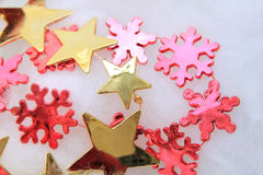 Christmas decorations in red and gold Royalty Free Stock Photo