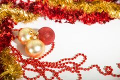 Christmas decorations red and golden Royalty Free Stock Photo