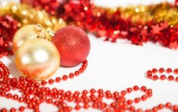 Christmas decorations red and golden Royalty Free Stock Images