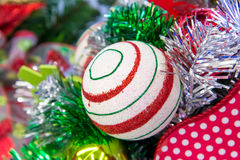Christmas decorations - red and green striped ornament Stock Photography
