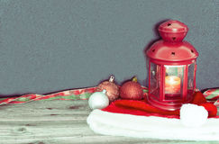 Christmas decorations and red lamp Royalty Free Stock Images