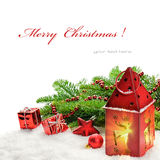 Christmas decorations and red lantern Royalty Free Stock Photos
