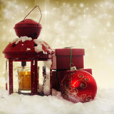 Christmas decorations and red lantern Stock Image