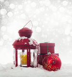 Christmas decorations and red lantern Royalty Free Stock Images