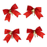 Christmas decorations - red ribbons and bells Royalty Free Stock Images