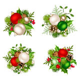 Christmas decorations with red, silver and green balls. Vector illustration. Stock Image