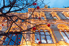 Christmas decorations on the Red Square, Moscow, Russia Royalty Free Stock Images