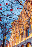 Christmas decorations on the Red Square, Moscow, Russia Stock Photos