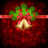 Christmas decorations on red starry background. Christmas bells and holly berries on red starry background, illustration Stock Images
