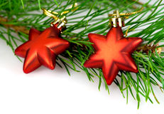 Christmas decorations red stars Royalty Free Stock Image