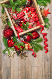 Christmas decorations red stars, baubles, ribbons. Vintage ornam Royalty Free Stock Photo