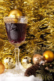 Christmas decorations and red wine stock photos