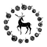 Christmas decorations with reindeer black and white Stock Photography