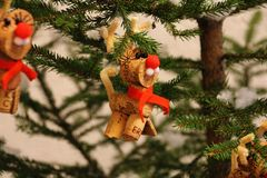 Christmas decorations: reindeer made of cork cap stock image
