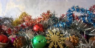 Christmas decorations with rich prizes. All the magic of Christmas, and the beginning of the New Year Royalty Free Stock Photos