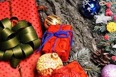 Christmas decorations on rough grey wooden texture background. stock images